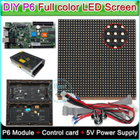 DIY P6 Indoor full color LED display,Led sign,RGB P6 LED Module (192*192mm)20PCS/0.75sq.m. +HD C10 Control card+5V Power supply