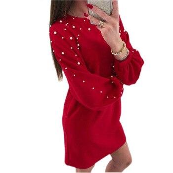 2018 nowy Casual O-Neck nit stałe sukienka pani Femme Plus rozmiar dziewczyny sukienka jesień zima kobiety sukienka Lady plus rozmiar GV538