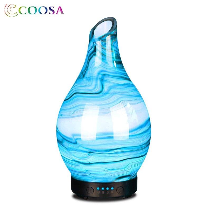Coosa humidificateur d'air à ultrasons 100 ml diffuseur d'huile essentielle couvercle en verre 7 lumières changeantes de couleur pour chambre bureau bureau cadeau