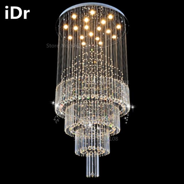 Duplex Living Room Lights Crystal Lampscircular Hall Villa Hotel Project Lighting  Stairwell Long Chandelier IDr