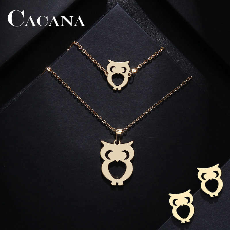 CACANA Stainless Steel Jewelry Sets For Women Owl Shape Necklace Bracelet Earring Jewelry Lover's Engagement Jewelry S1