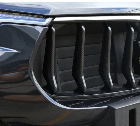 8pcs Carbon Fiber Style ABS Plastic Front Grill Decoration Strips Cover Trims For Maserati Levante 2016 Gloss Black Car Parts