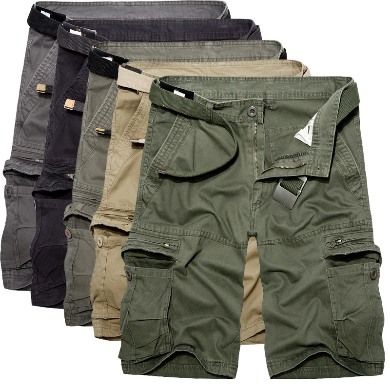 Cotton Shorts Trousers Bermuda Military Army-Green Multi-Pocket Summer Mens Casual Homme