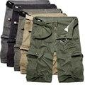 2017 Para Hombre Pantalones Cortos de Verano Estilo verde del ejército Overol Sueltas macho Multi-Bolsillo Pantalones Cortos decoración de grandes bolsillos pantalones Casuales 40