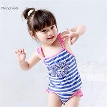 New Models 1-8 year old Baby Girl two piece Swimwear Children sling swimsuit Girls Purple Stripe with Heart Pattern Swim Wear