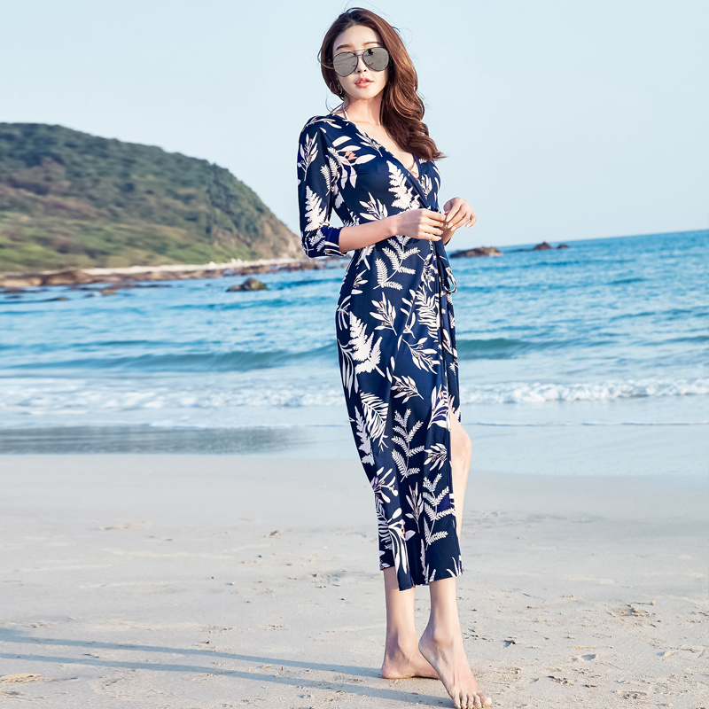 6b76f35a48 2017 Summer New Korean Women Fashion Sexy V neck Floral Printed Maxi Dress  Beach Dress Wrap Dress Female Vestidos 6221#-in Dresses from Women's  Clothing on ...