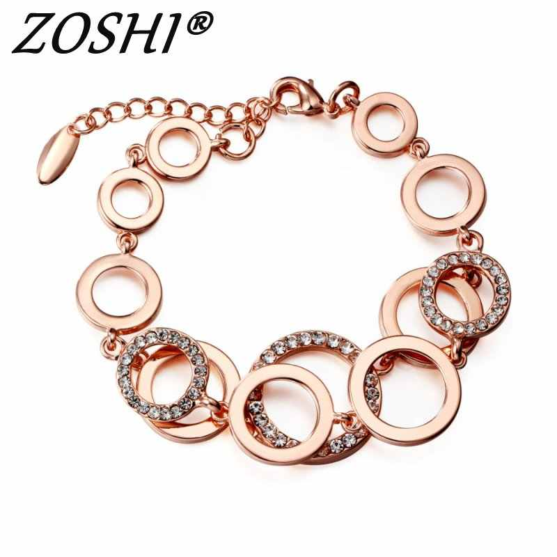 Rose Gold Circles Bracelet & Bangles For Women Rhinestones Paved Double Layer Round Female Wedding Jewelry