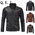 Q.E.J 2016 autumn and winter men standing collar motorcycle leather jacket washed leather high quality Slim Straight hem