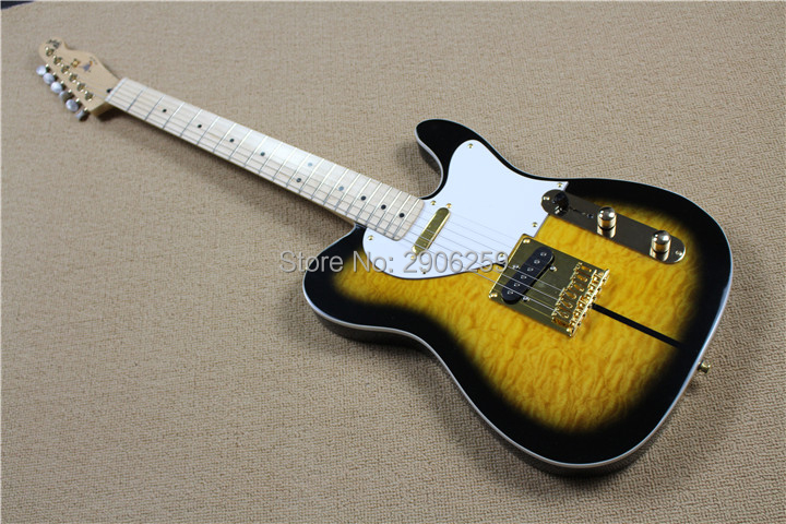 Hot Sale Tele <font><b>guitar</b></font> flamed maple veneer ,one piece TL <font><b>guitar</b></font>,gold hardware high quality 21 frets <font><b>guitar</b></font>,dog signature <font><b>telecast</b></font> image