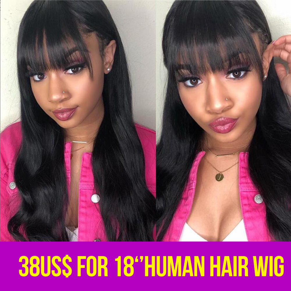 Brazilian Human Hair Wigs Ocean Wave Hair Wigs With Bangs For Women non remy Hair Front Wig Natural Color Full Machine Wigs