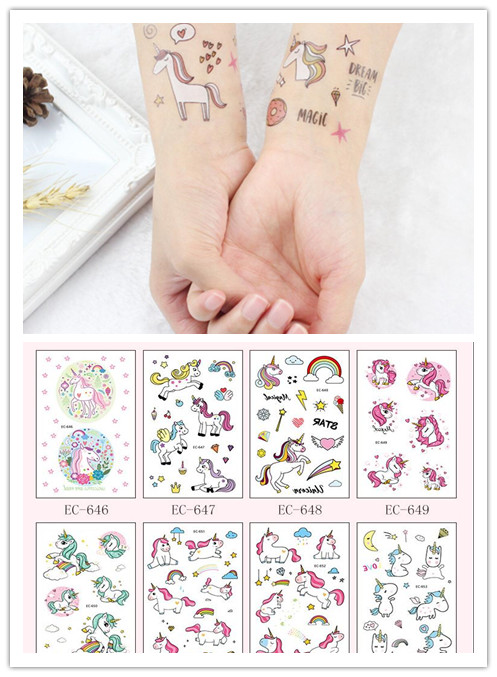 5pcs Children's Temporary Tattoos Stickers Unicorn  Body Art Sleeve Tattoo Decals Waterproof Tattoos Party Supplies Cartoon Hat