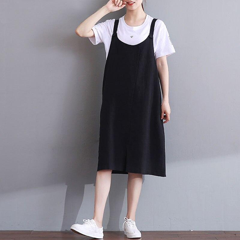 ZANZEA Vintage Women Summer Spaghetti Straps Loose Party Cotton Linen Pockets Dungarees Dress Casual Baggy Split Hem Vestido