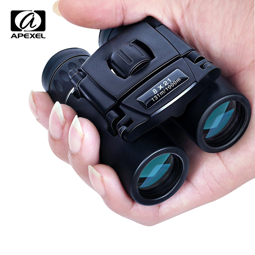APEXEL Zoom Binoculars Mini Telescope Compact Powerful Folding Fmc-Optics Hunting 8x21