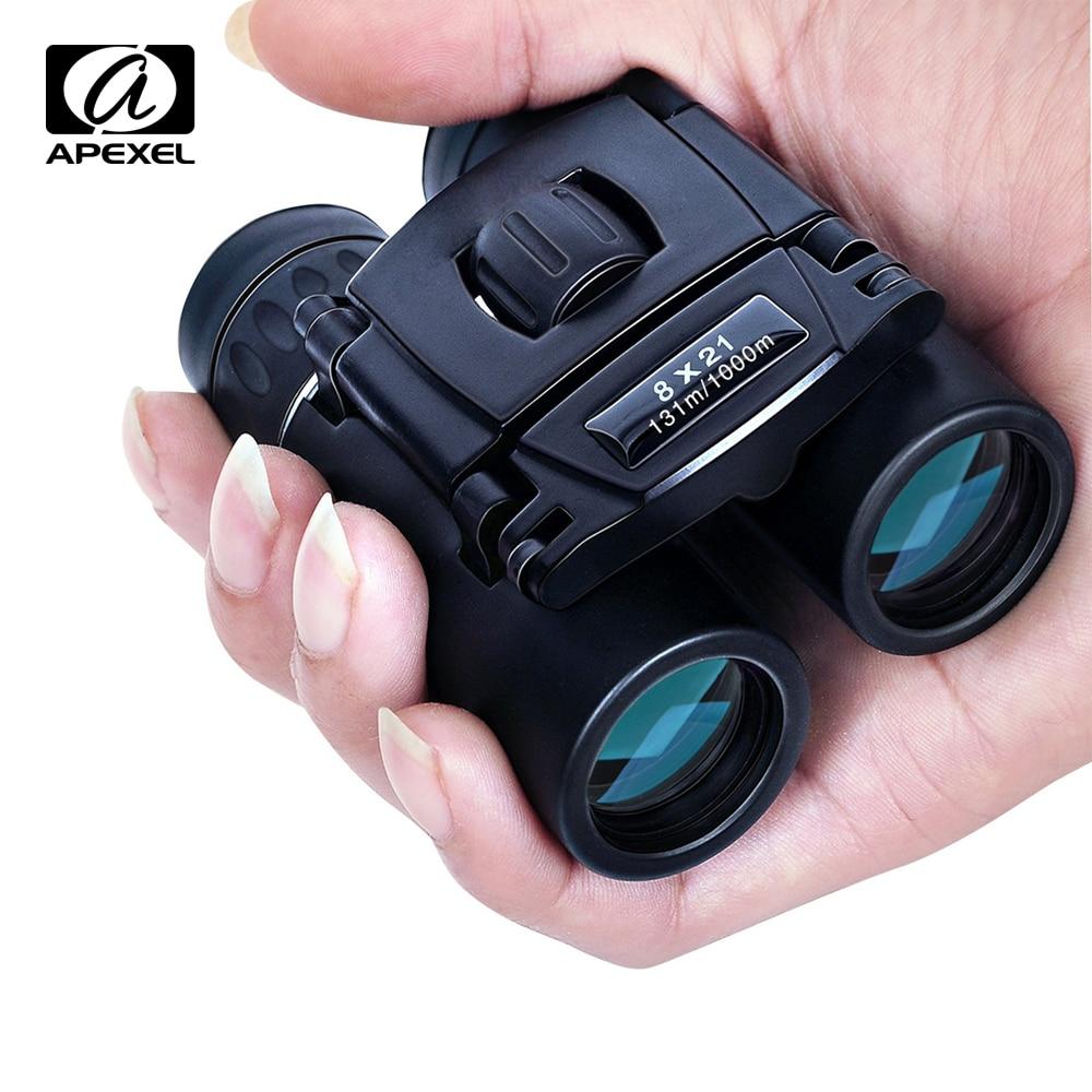 APEXEL 8x21 compacto Zoom prismáticos de largo alcance 1000 m plegable HD Mini telescopio BAK4 FMC óptica de caza acampar deportes