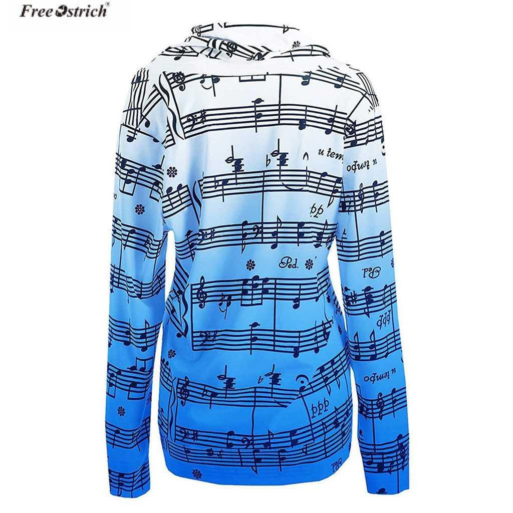 TRASPORTO di STRUZZO Vestiti Delle Donne T Camicette Musicale Stampa Magliette e camicette vintage casual Sciolti a Maniche Lunghe T-Shirt Tee Camicette Femme 2019