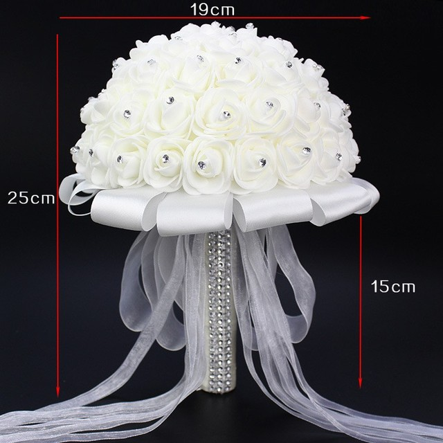 2016 Bridal Wedding Bouquet With Pearl Beaded Romantic Bride 's Bouquet Foamflowers Ramo De Boda Flowers Bride White Satin WP002