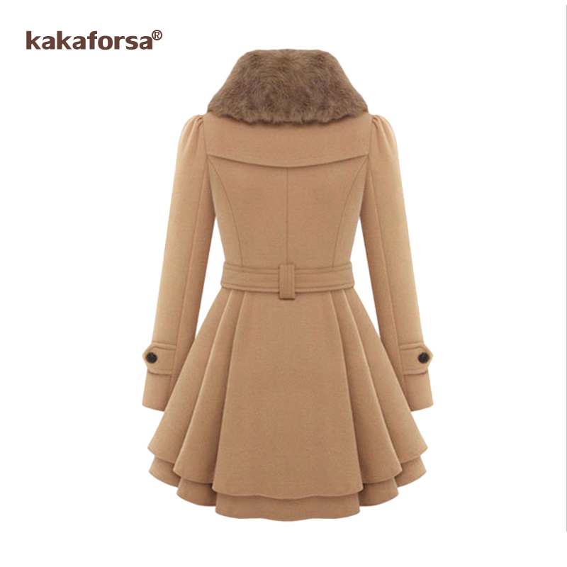 Chaud Femmes Casual Kakaforsa D'hiver Pardessus Black Mélanges Élégant Outwear Longues New Turn Col Manteau red khaki Down Style Femelle wn7pH1nq