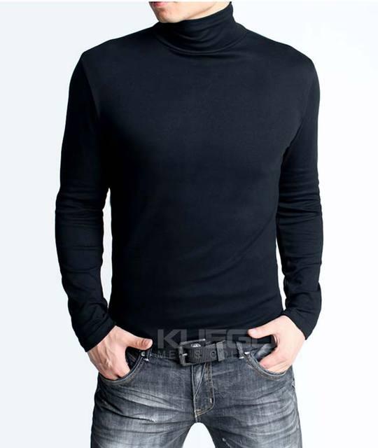 Men's Fashion Long Sleeve T shirt Casual Shirt Turtleneck collar ...