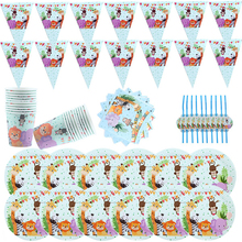 90Pcs\Lot Jungle Animal Theme Paper Cup Plate Napkin Flag Straw Kids Favor Birthday Party Decoration Disposable Tableware