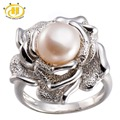 Hutang Freshwater Pink Pearl Solid Sterling Silver Rose Flower Ring 925 Hallmark Fine Jewelry Free Shipping Worldwide