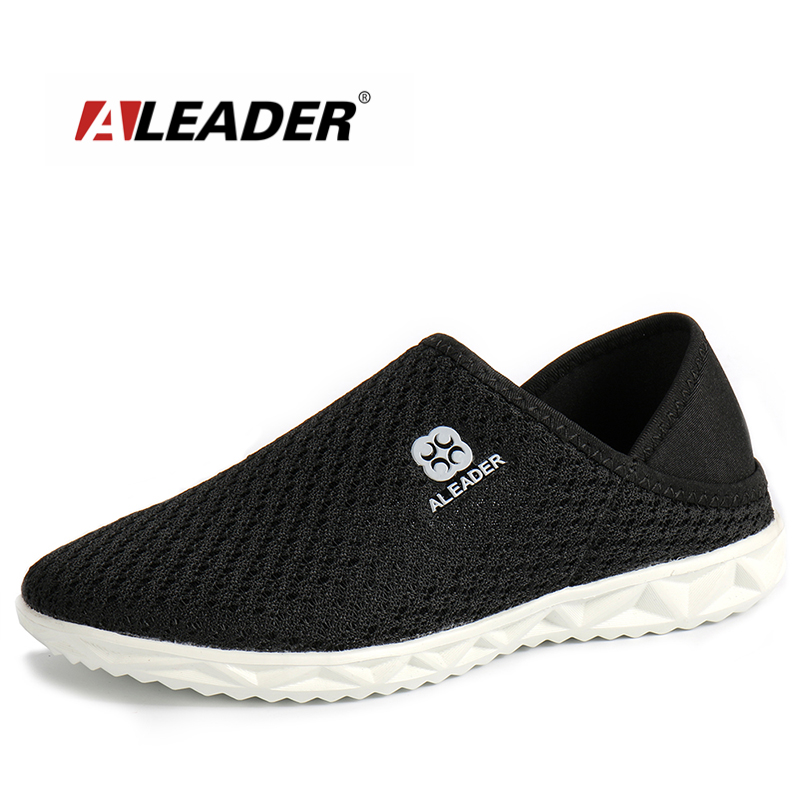 Aleader Lightweight Unisex Shoes Summer Casual Mesh Shoes Men Indoor Slippers Slip On Breathable Walking Shoes Male zapatillas male lightweight breathable mesh slip on shoes