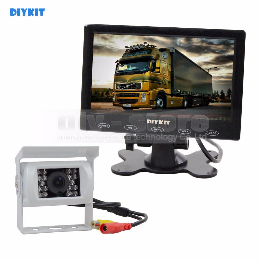 DIYKIT 7 inch Touch Car Monitor +  Backup Rear View CCD Waterproof Car Camera Kit for Horse Trailer Motorhome System free shipping 12 24v 9 quad split 4 channel video view car recording monitor waterproof backup rear view camera for truck van