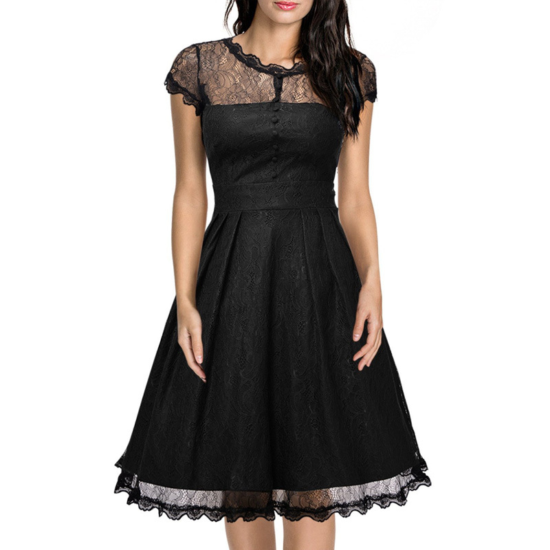 Womens Retro Floral Black Lace A Line Dress Vintage Cap ...