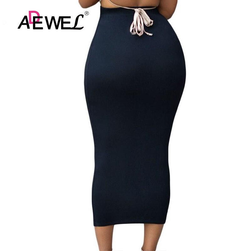 Femmes musulmanes longue jupe crayon taille haute moulante robe boutonnée