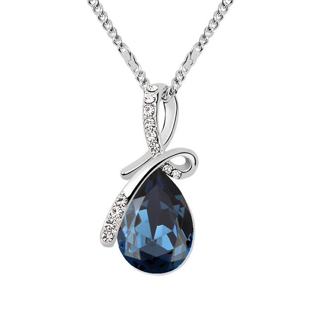Water Drop Swarovski Crystal Elegant Pendant Necklace for Women