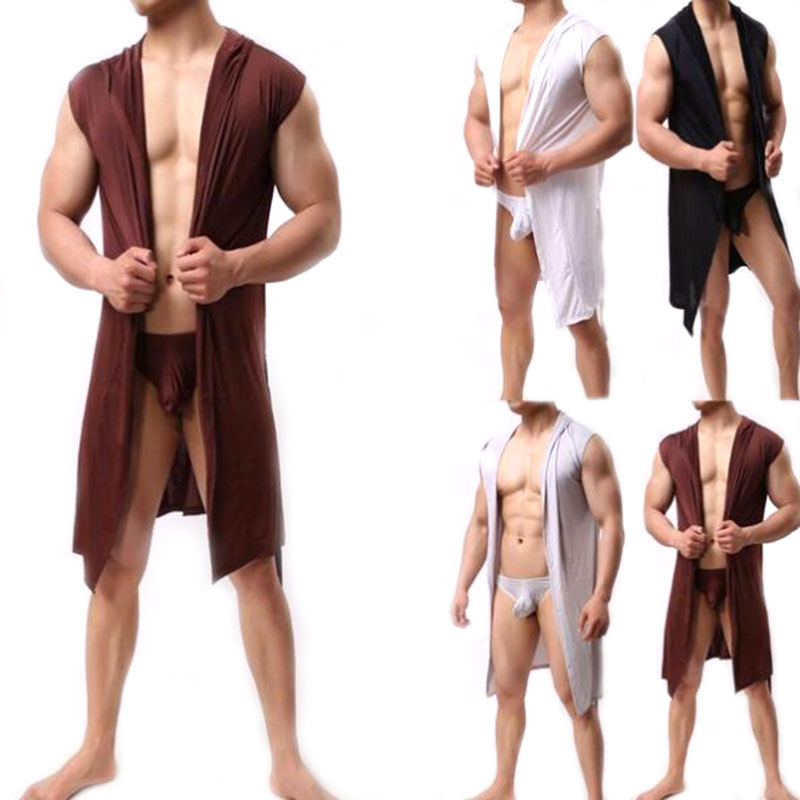Men Sexy Sleeveless Sleepwear Robe Hooded Bathrobe Casual Pajamas Men's Robes Comfortable Sexy Robe Homewear With Underwear