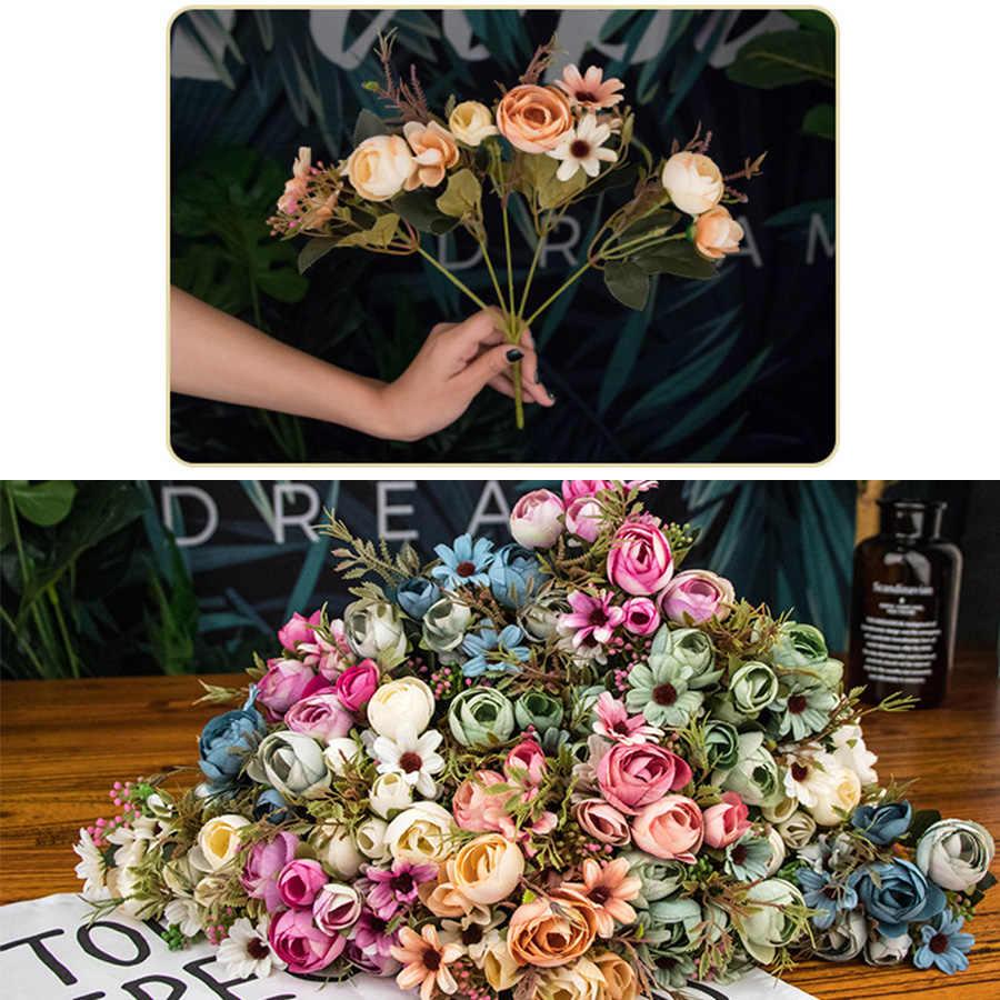 ฤดูใบไม้ร่วงปลอมชา Rose ดอกไม้ผ้าไหมฤดูใบไม้ร่วง Gerbera Daisy ดอกไม้พลาสติกสำหรับงานแต่งงานอุปกรณ์ตกแต่งตกแต่งห้อง