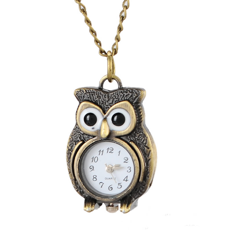 Fashion Retro Unisex Vintage Owl Pendant Antique Necklace steampunk Pocket Watches Gift High Quality Pendant Quartz Watch Clock vintage bronze retro slide smart owl pocket pendant long necklace watch 8juh