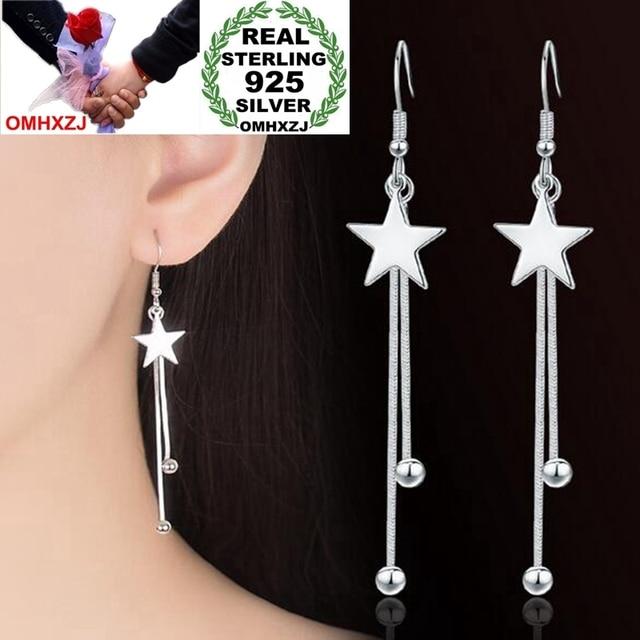 OMHXZJ hurtownia biżuterii urocza moda joker kpop dla kobiety prezent gwiazda koraliki 925 srebro opadające kolczyki z długimi frędzlami YS221