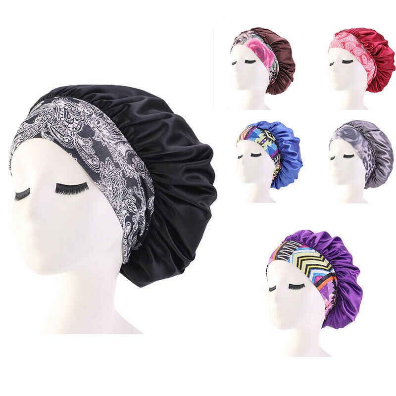 2019 New Women Floral Shower Caps Satin Bonnet Cap Night Sleep Hair Protect Head Cover Wide Band Adjust Hats Bathroom Products