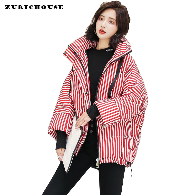 Women's Winter Jacket Stand   Parka   Temperament Striped Stand Puffer Jacket 2019 Fashion Brand Cotton Padded Coat Female   Parkas