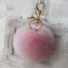 10CM Round Fluffy KeyChain Rabbit Fur Ball Key chain Women Bag Charm Ornaments Pendant Plush Fur Pom Pom Car KeyChain Ring Q008