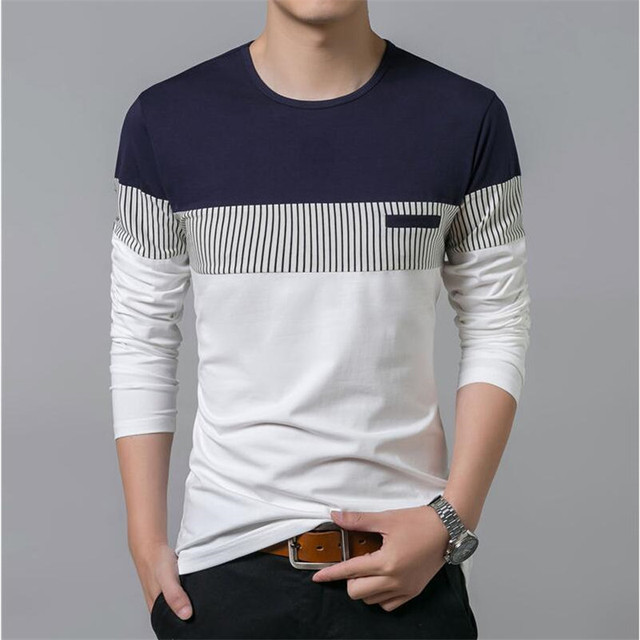 5fa72705 T-Shirt Men 2018 Spring Summer New Long Sleeve O-Neck T Shirt Men Brand  Clothing Fashion Patchwork Cotton Tee Tops
