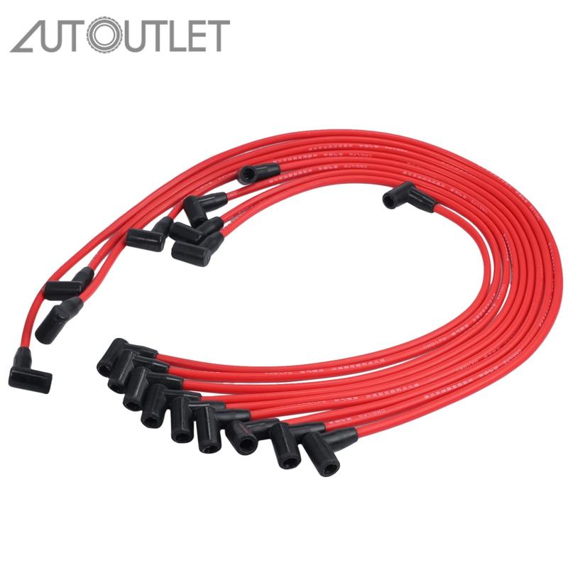 AUTOUTLET 9pcs 7.5MM Spark Plug Wires Plug Set For Chevrolet HEI SBC BBC 350 383 454 Electronic D030-PW-SBC350