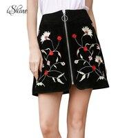 Women's Front Zipper Flocking Suede A-line European Mini Skirts Floral Embroidery Casual Sexy Femme Girls Short Skirt Korean New