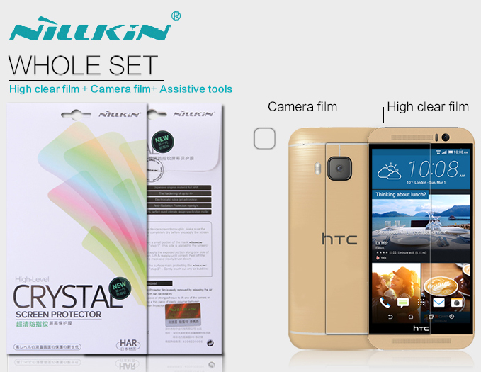 nillkin super clear screen film for htc one m9 High definition wearable screen protector with camera fim + assistive tools