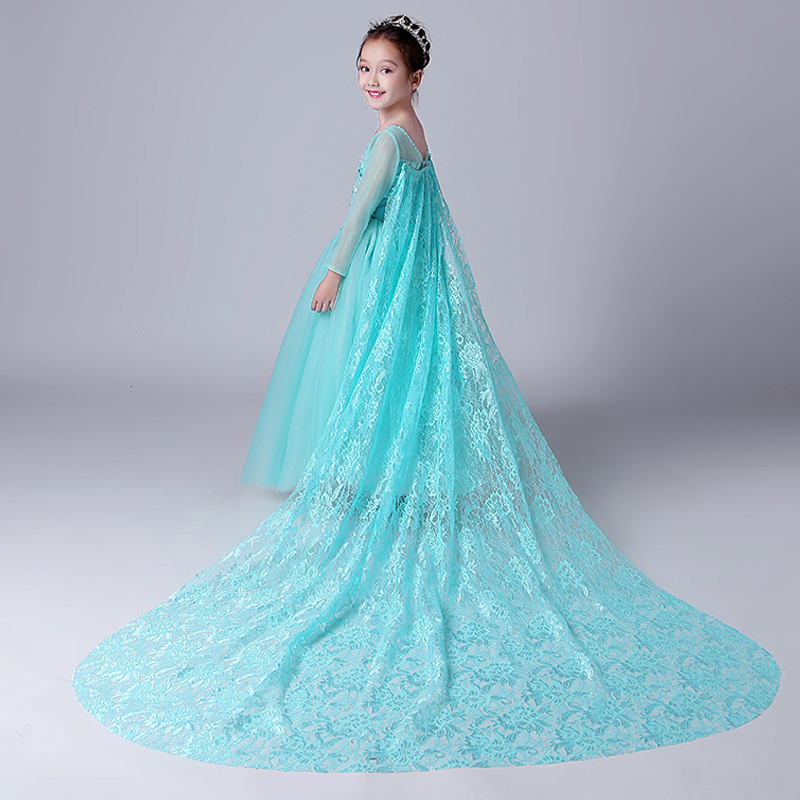 все цены на 4-10Y Royal Princess Dress Mesh Long Tailing Flower Girls Dresses Appliques Girls Holy Communion Dress Kids Pageant Dress D194