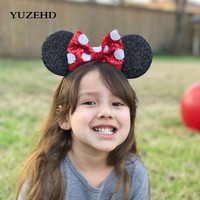 YUZEHD 1 PC accesorios para el cabello de los niños orejas de Minnie Mouse diademas de lentejuelas Bowknot diadema para niñas diadema de ratón