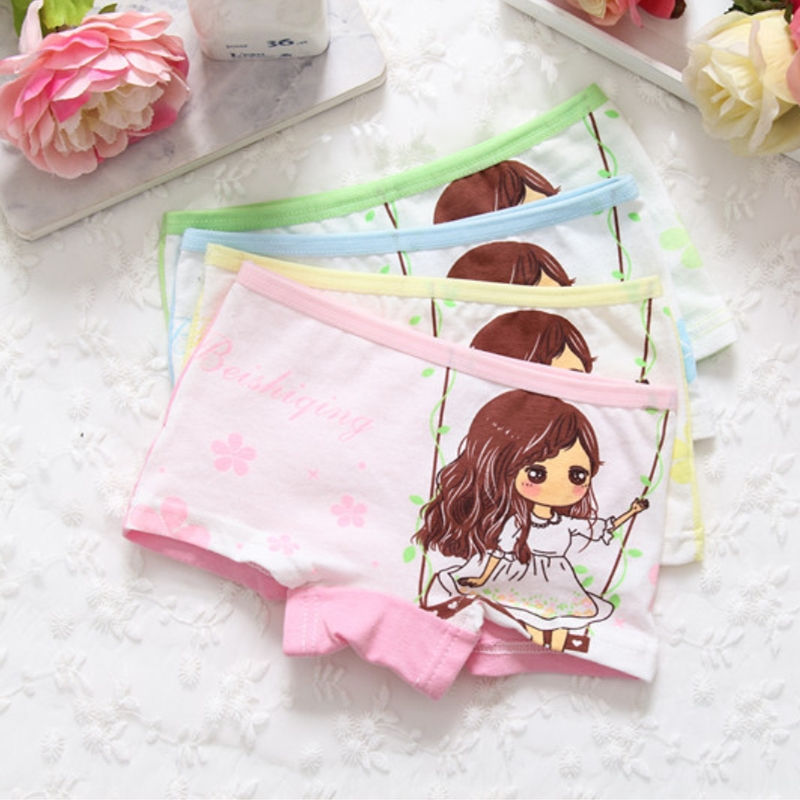 4pcs Cotton Girls Panties Cartoon Comfortable Soft Girl Underwear For 2-9 Years Childrens Briefs Kids Clothes