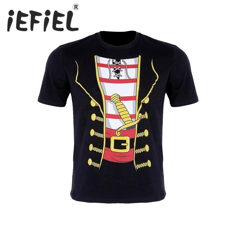 iEFiEL Male Mens Fashion Pirate Jumbo Print Novelty Halloween Costume Short Sleeve Screw Neck Soft Cotton Loose T-shirt Tops