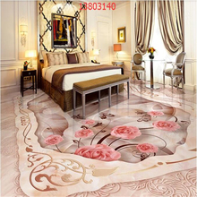beibehang Custom size high-end luxury aristocratic home decoration rose stone mosaic 3D floor tile PVC material painting