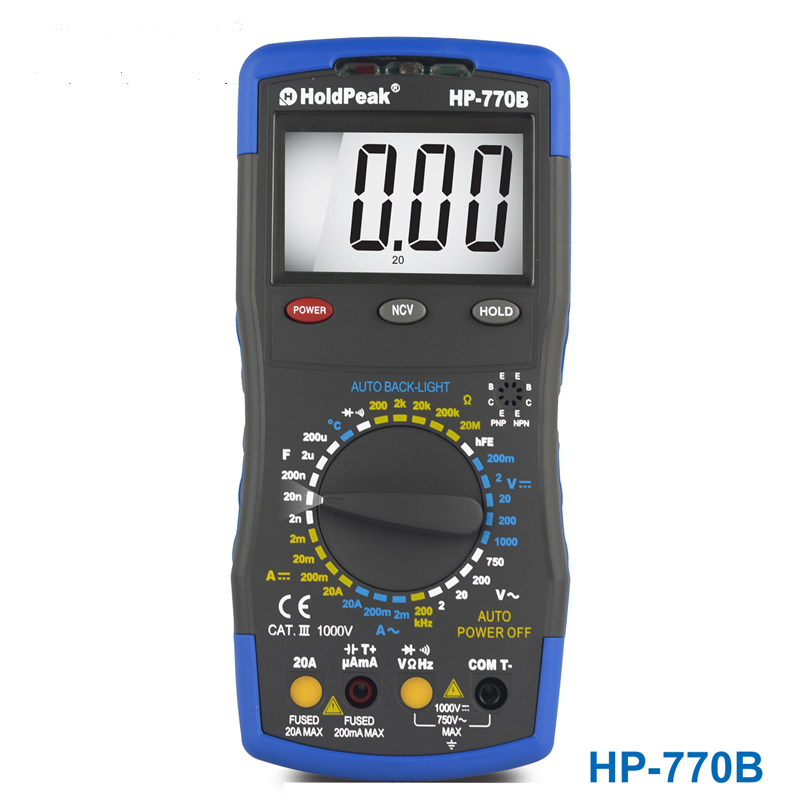 Ture rms Multimetro HoldPeak HP-770B Digital Multimeter Meter with NCV Feature and Frequency/Dide/hFE Test mini multimeter holdpeak hp 36c ad dc manual range digital multimeter meter portable digital multimeter