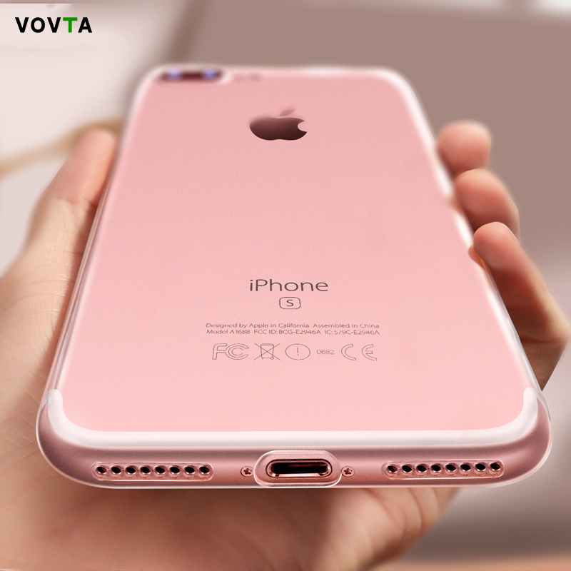 VOVTA Ultra Thin Soft TPU Case For iPhone 7 8 Clear Crystal Soft TPU Silicone Case For iPhone 8 7 Plus Phone Cases Capa Coque