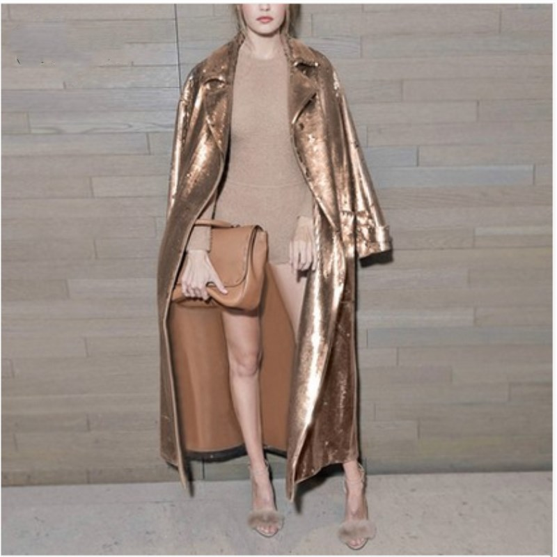 See Orange New Autumn Winter Gold Sequined Long Coat Lady 2018 T Show Windbreaker Loose Trench Coat For Women SO8414