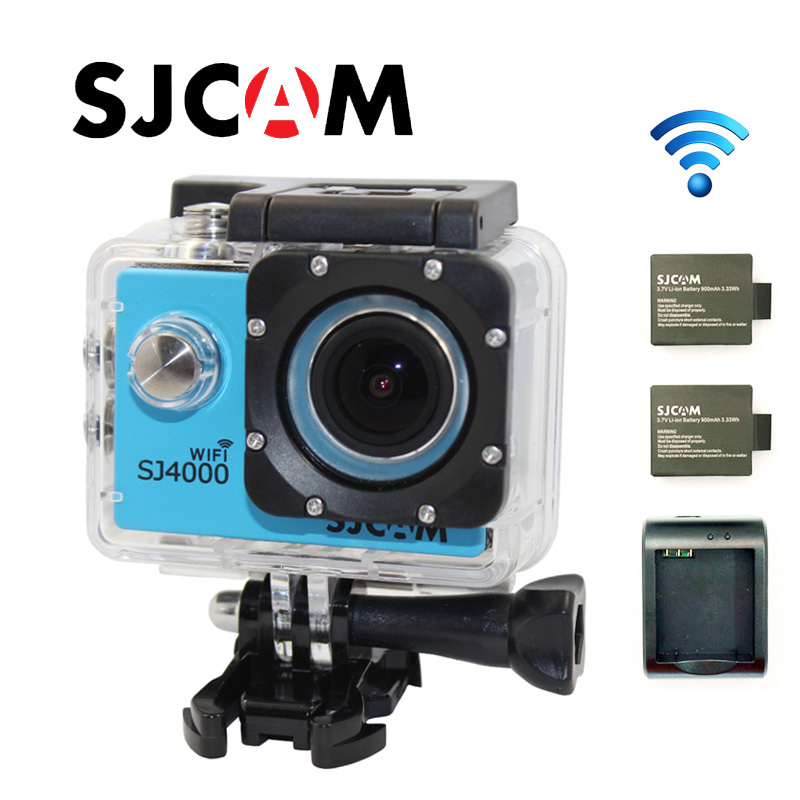 Free shipping!! Original SJCAM SJ4000 WIFI Diving 30M Waterproof Action Camera +Extra 2pcs batteries+Battery Charger free shipping original sjcam sj4000 diving 30m waterproof sport action camera battery charger extra 1pcs battery the monopod