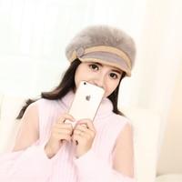 Women Beret For Women Autumn Winter Hat Thick Warm Vintage Casual Caps Soft Felt Wool Rabbit